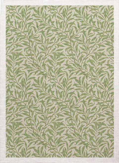 William Morris Tea Towel WM79_BG willow bough  pattern with green background Made in Australia