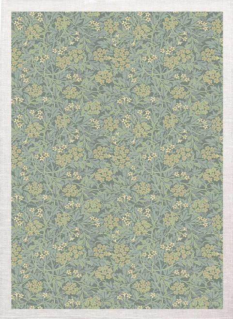 William Morris Tea Towel WM80_BG floral pattern with green back Made in Australia