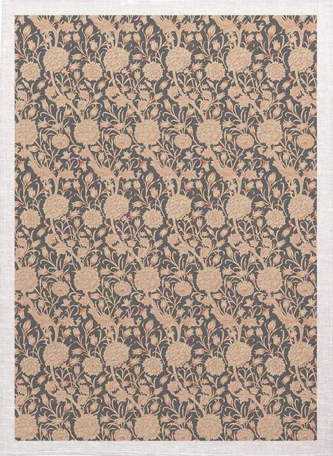 William Morris Tea Towel WM83_Grey floral pattern, Made in Australia