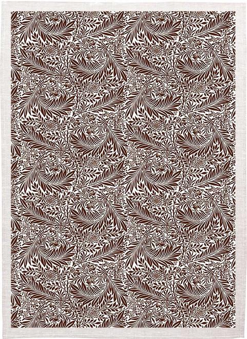 William Morris Tea Towel WM90 leaf vine pattern brown Made in Australia