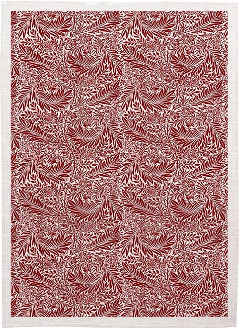 William Morris Tea Towel WM91 leaf vine pattern burgundy Made in Australia