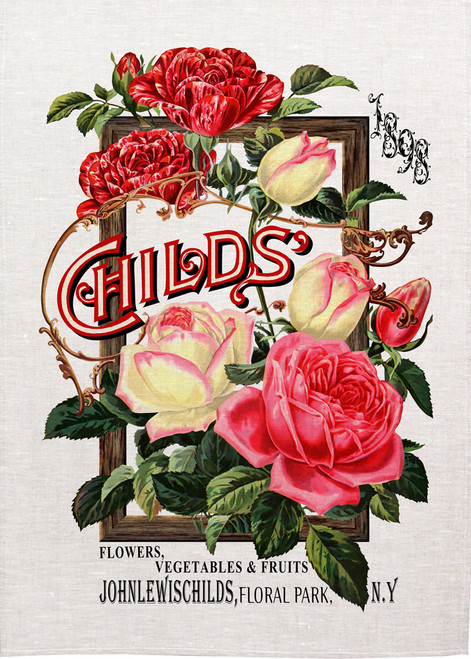 Childs flowers and vegetables illustration on tea towel, Made in Australia