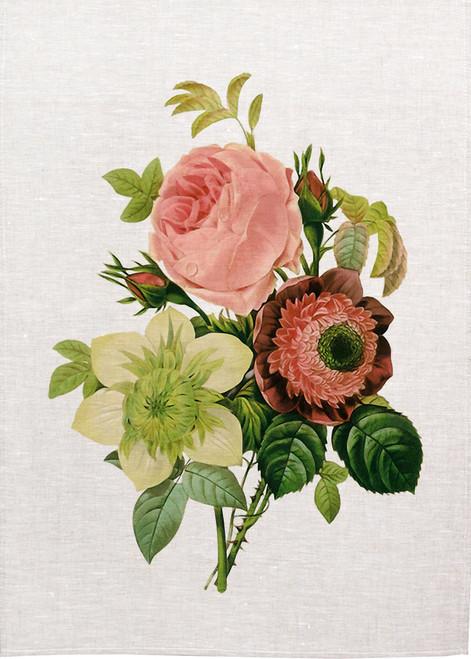 Floral bunch illustration on tea towel, Made in Australia