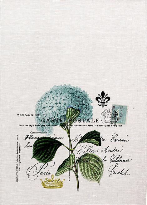 Hydrangea postcard illustration on tea towel, Made in Australia