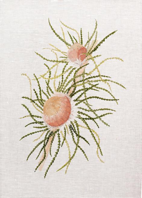 native bush flower vintage illustration on tea towel, made in Australia