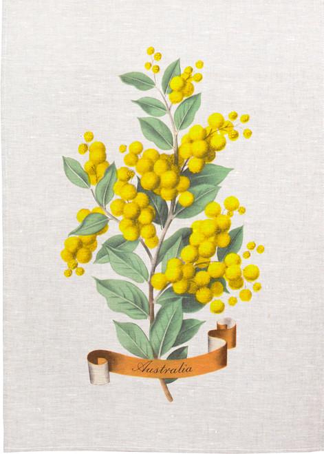 Golden Wattle illustration on tea towel, made in Australia