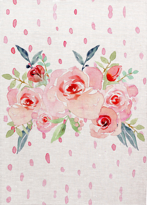 Floral watercolour on tea towel, Made in Australia