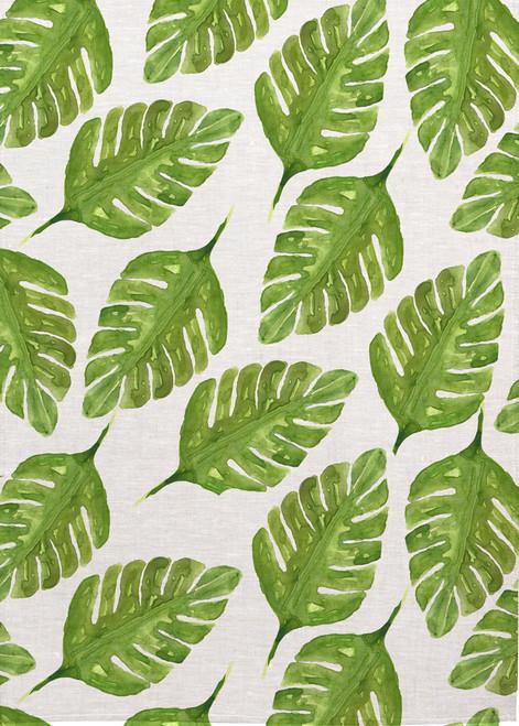 Pal leaf pattern on tea towel, Made in Australia
