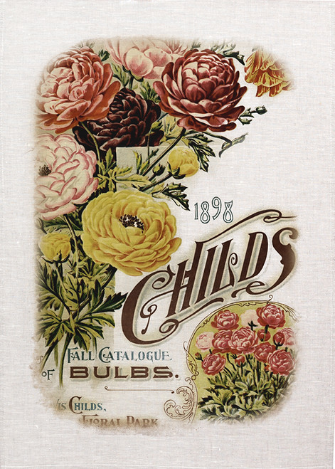 Childs Bulbs poster on tea towel, Made in Australia