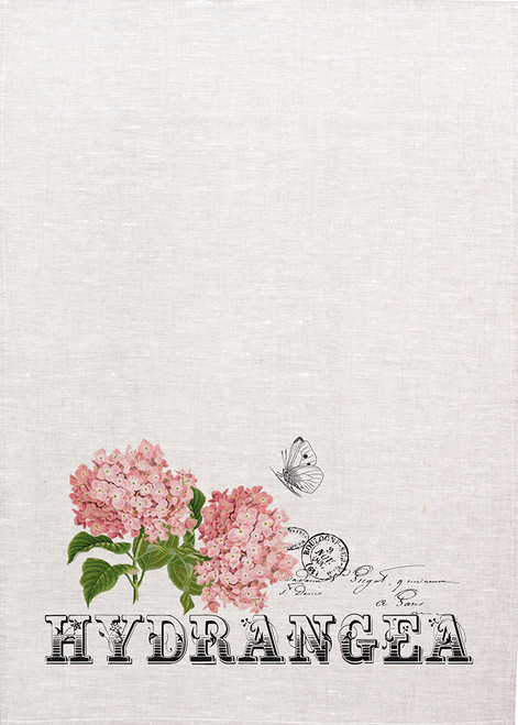 Hydrangea illustration on tea towel, Made in Australia