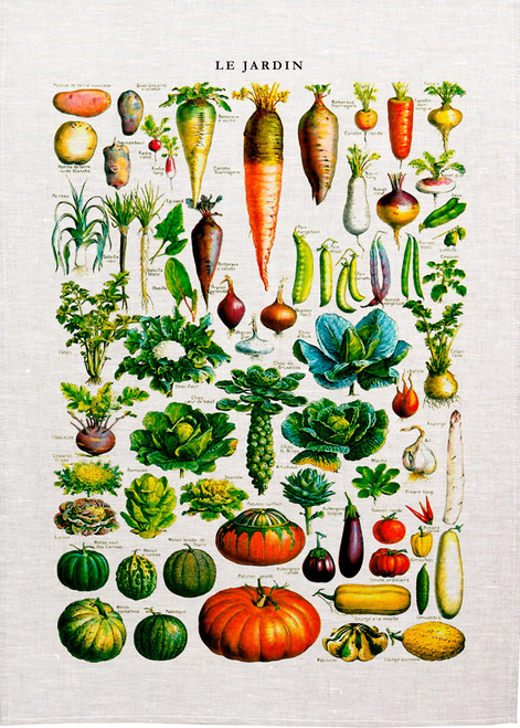Le Jardin, vegetables illustration on tea towel, Made in Australia