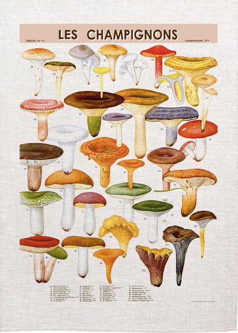 Les Champignons illustration on tea towel, made in Australia