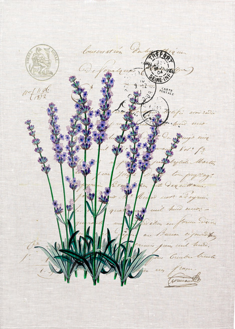 Lavender with Postcard background printed on tea towel, Made in Australia