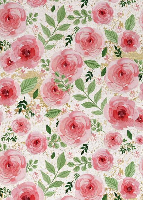 Rose and leaf pattern printed on tea towel, made in Australia
