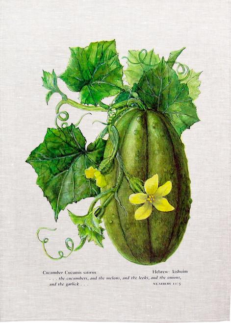 Cucumber illustration printed on tea towel, made in Australia