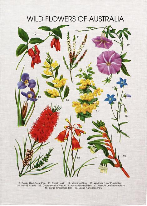 Wildflowers of Australia printed on tea towel, made in Australia