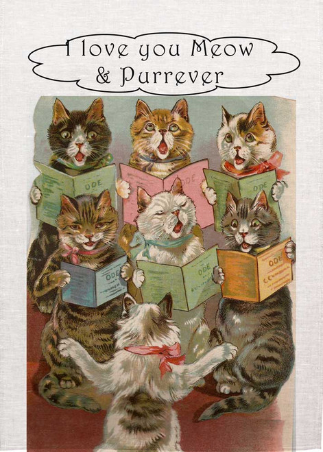 Cat Choir Teatowl - I love you Meow & Purrever