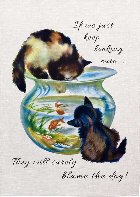 If We just keep looking cute, The will surely blame the dog Teatowel