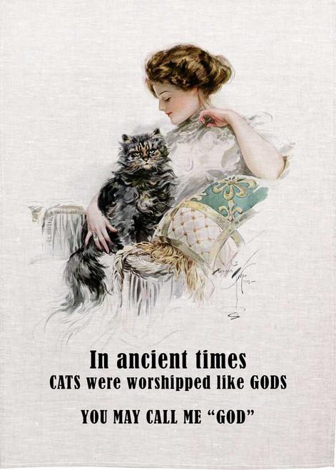 Cats Worshipped Like Gods Teatowel