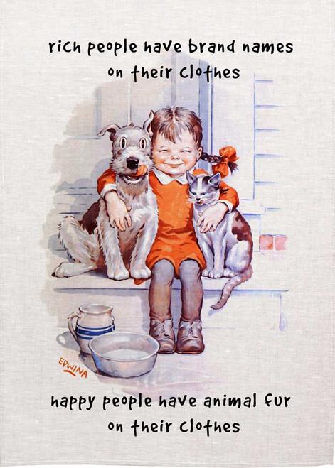 Happy people Have animals fur on their cloths teatowels
