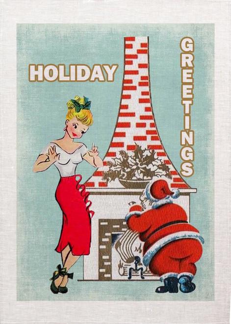 Holiday Greetings Christmas Tea Towel
