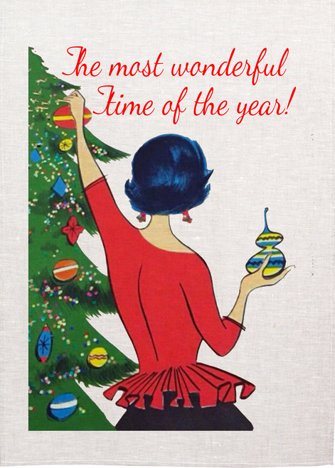 It's The Most Wonderful Time Of The Year Christmas Tea Towel