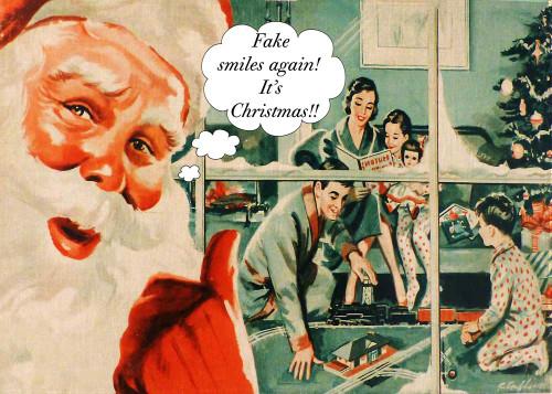 Fake smiles again - Must be christmas - tea towel