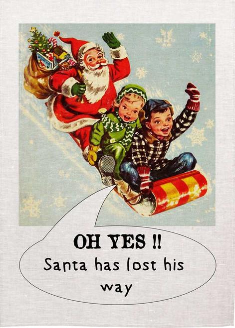 Santa Has Lost His Way Christmas Tea Towel