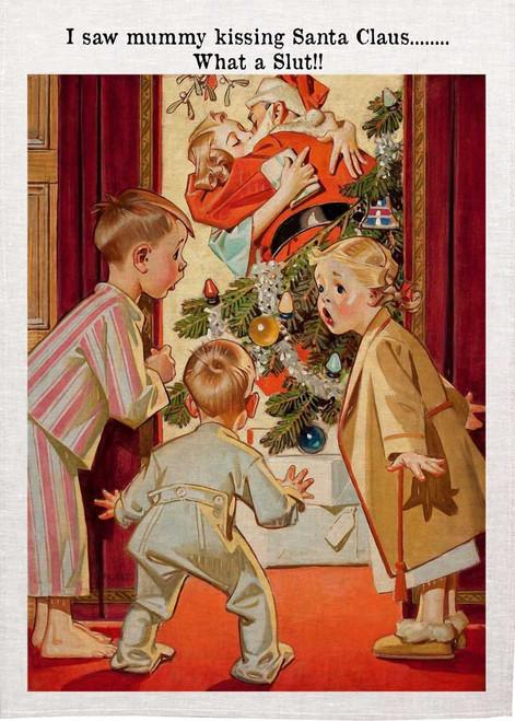 Mummy Kissing Santa Christmas Tea Towel