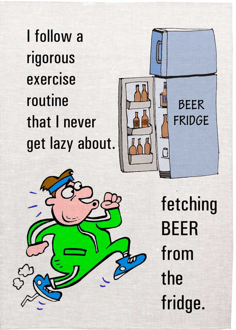 Fetching Beer from the fridge , Made in Australia Teatowel
