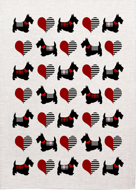 Scotty Dogs repeat pattern with love hearts, Made in Australia Teatowel