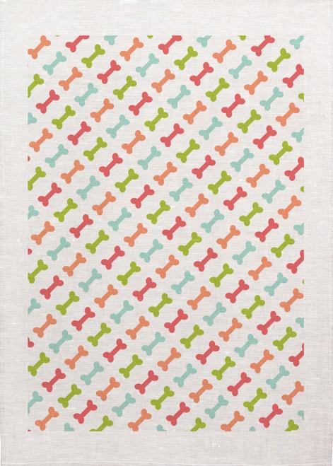 Repeat Pattern bones colourful, Made in Australia Teatowel