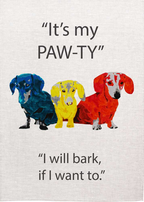 Colourful Dogs Duschhound,  It's my pawty, Made in Australia Teatowel
