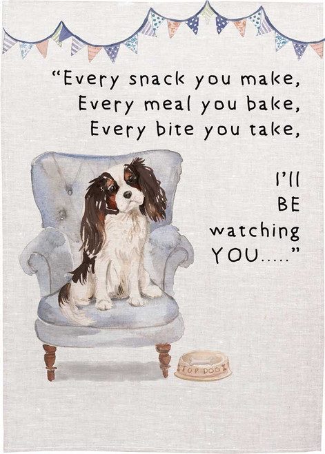 Cute King Charles Cavalier, With quote Every snack you make Made in Australia Teatowel