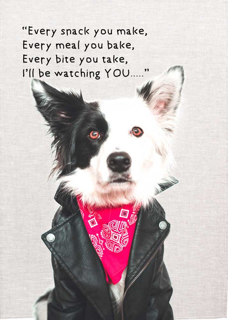 Border Collie, With quote Every snack you make Made in Australia Teatowel