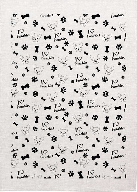 I Love Frenchies repeat pattern, Made in Australia Teatowel