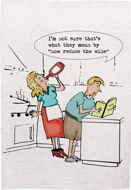 """I'm not sure that's what they mean by, """"now reduce the wine"""", Made in Australia Teatowel"""