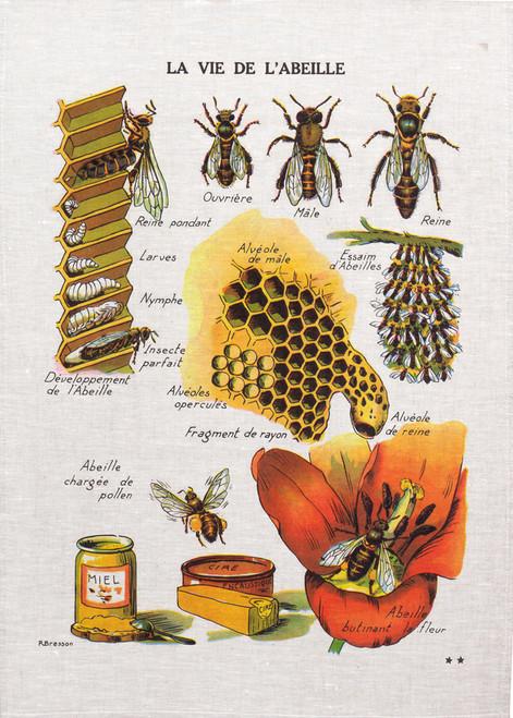 Life of a bee tea towel, La Vie De L'ABEILLE Bee99_KT