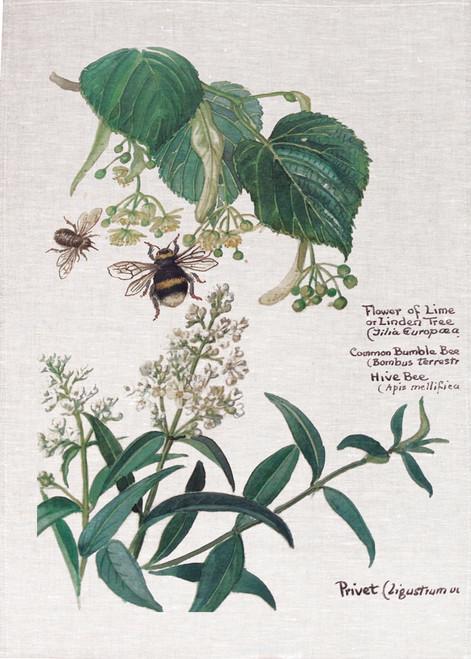 Botanical Bee tea towel