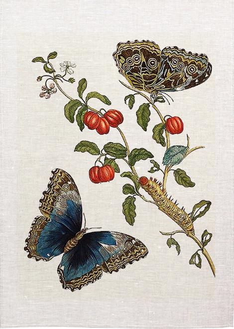 Butterflies Blue botanical tea towel