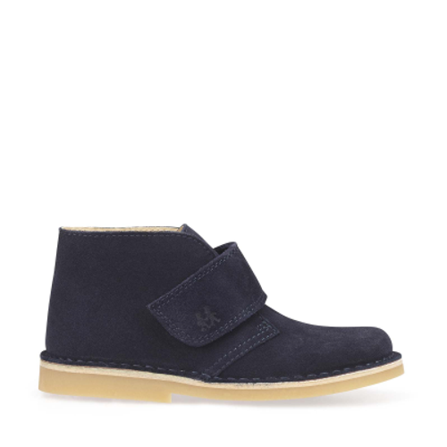 Footstep, Navy Blue Suede Riptape Boots 1728_9