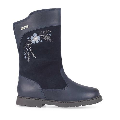 Start-Rite Splash, navy blue leather/suede girls zip-up waterproof boots 1730_9