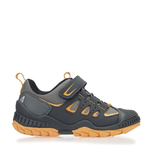 Start-Rite Charge, Grey/orange synthetic/textile riptape primary shoes 2765_5