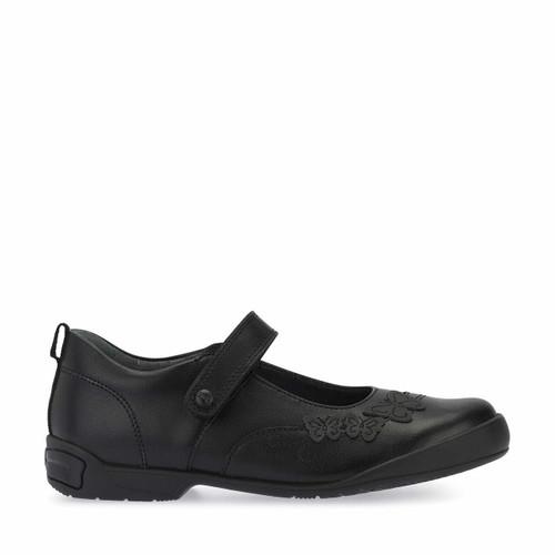 Start-Rite Pump, Black leather girls riptape school shoes 2778_7