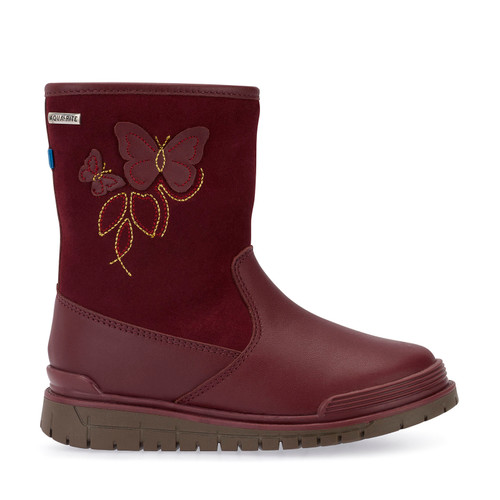 Tidal, Wine Leather Girls Water Resistant Zip-up Boots 2786_1