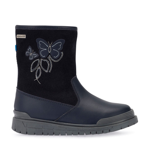 Tidal, Navy Blue Leather Girls Water Resistant Zip-up Boots 2786_9