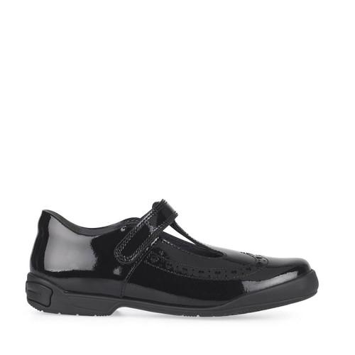 Start-Rite Leapfrog, Black patent girls riptape T-bar school shoes 2789_3