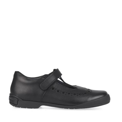 Start-Rite Leapfrog, Black leather girls riptape T-bar school shoes 2789_7