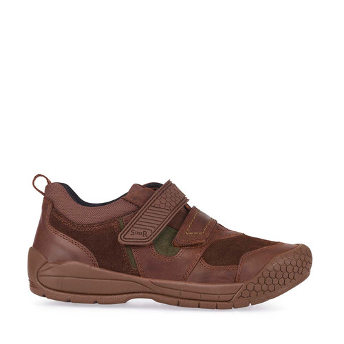 Start-Rite Strike, Brown Leather/Suede Boys Riptape Casual Shoes 2793_0