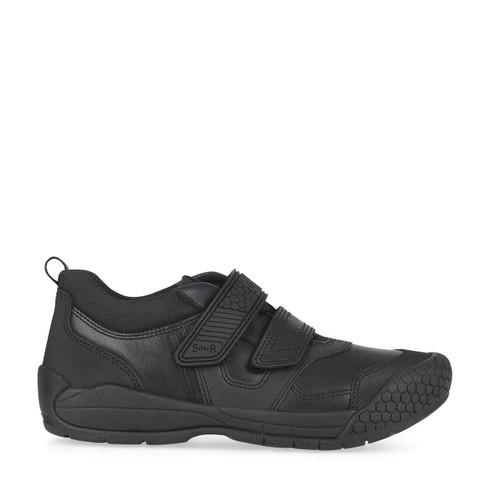 Start-Rite Strike, Black leather boys riptape school shoes 2793_7